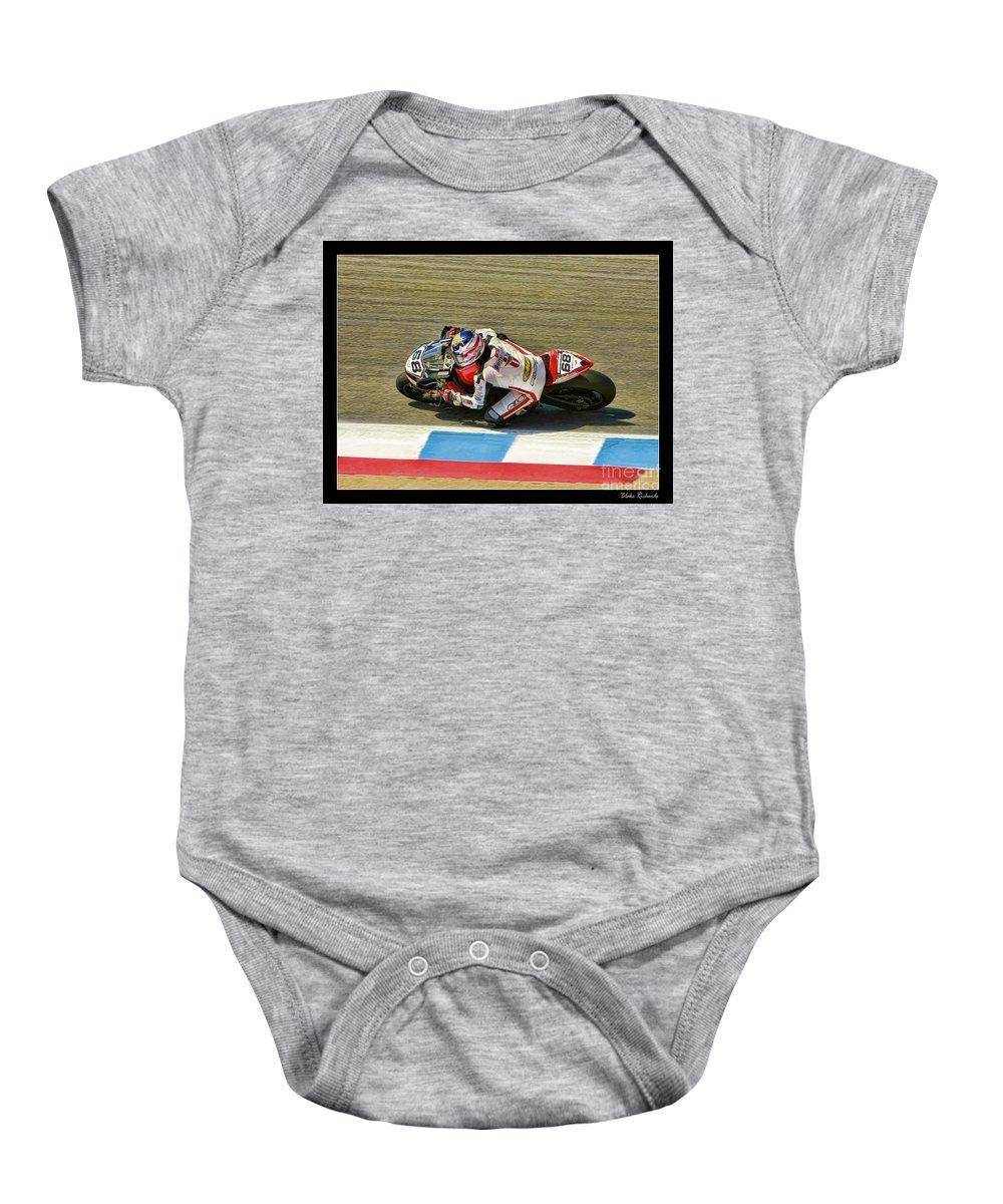 Dustin Dominguez Baby Onesie featuring the photograph Ama Superbike Dustin Dominguez by Blake Richards