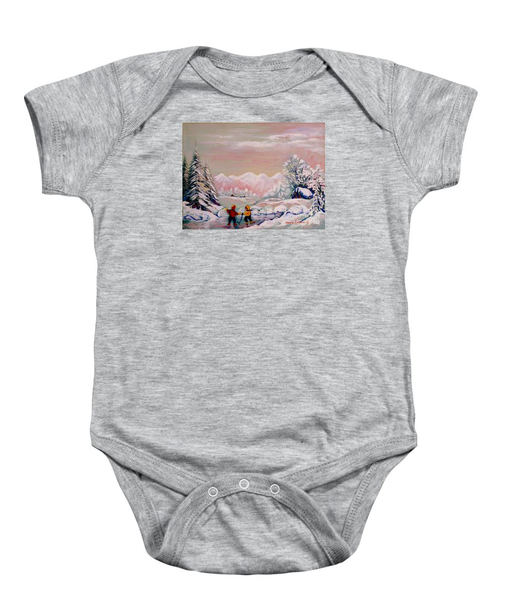 Beautiful Winter Fairytale Baby Onesie featuring the painting Beautiful Winter Fairytale by Carole Spandau