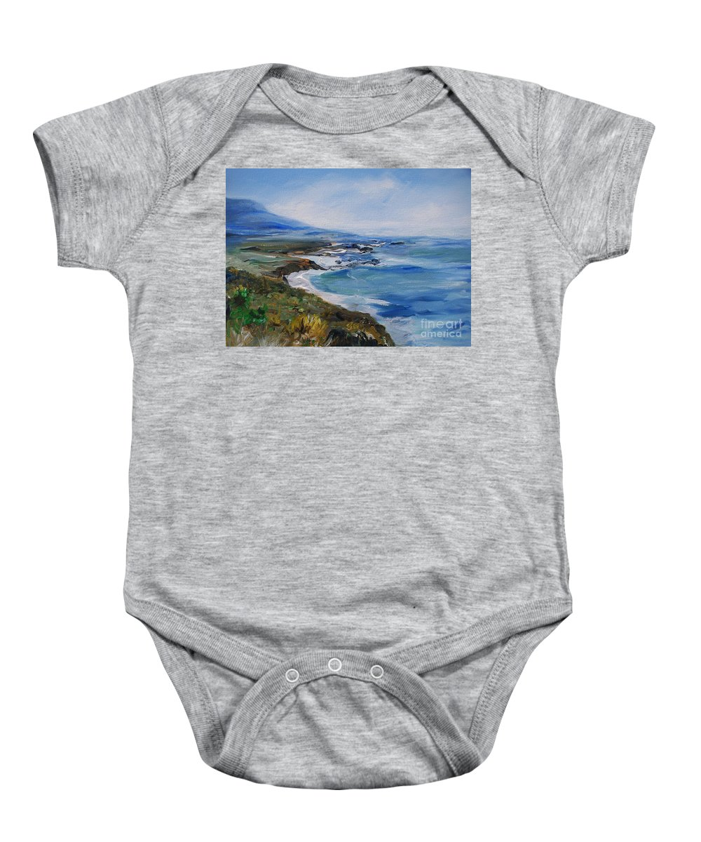 California Coast Baby Onesie featuring the painting Big Sur Coastline by Eric Schiabor