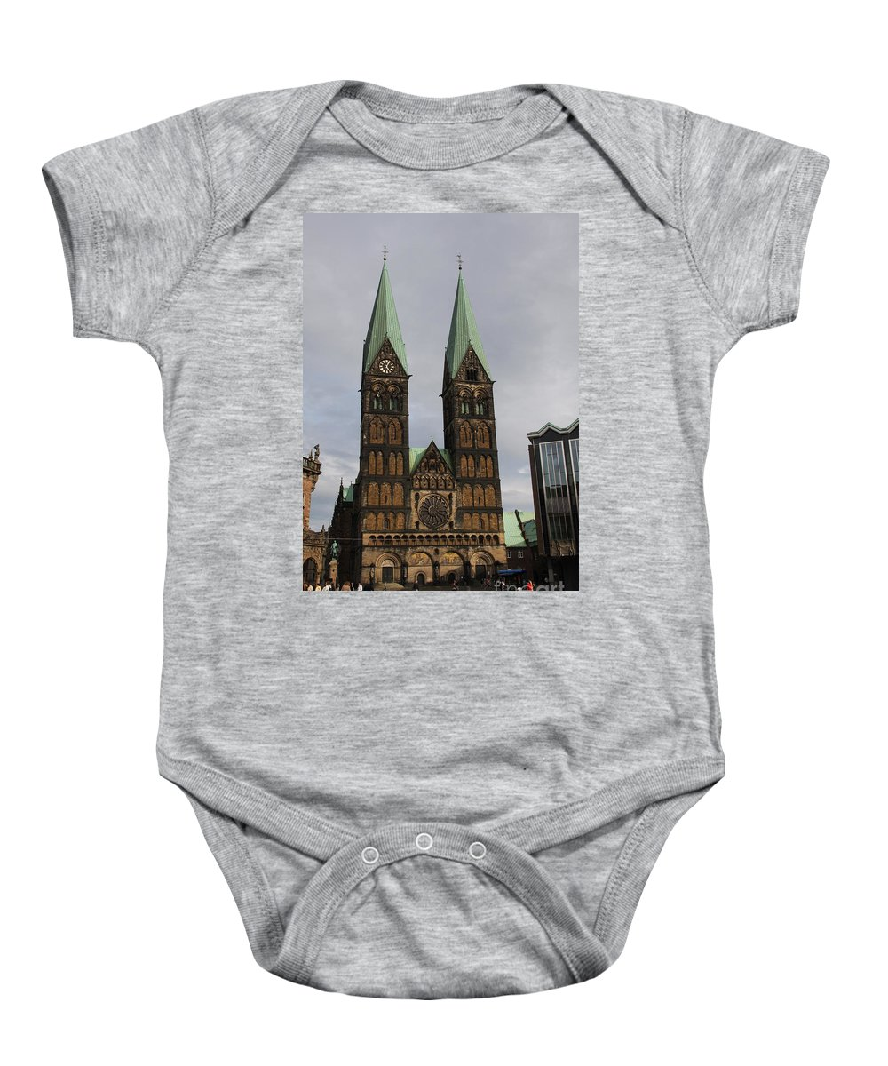 Cathedral Baby Onesie featuring the photograph Cathedral Bremen - Germany by Christiane Schulze Art And Photography