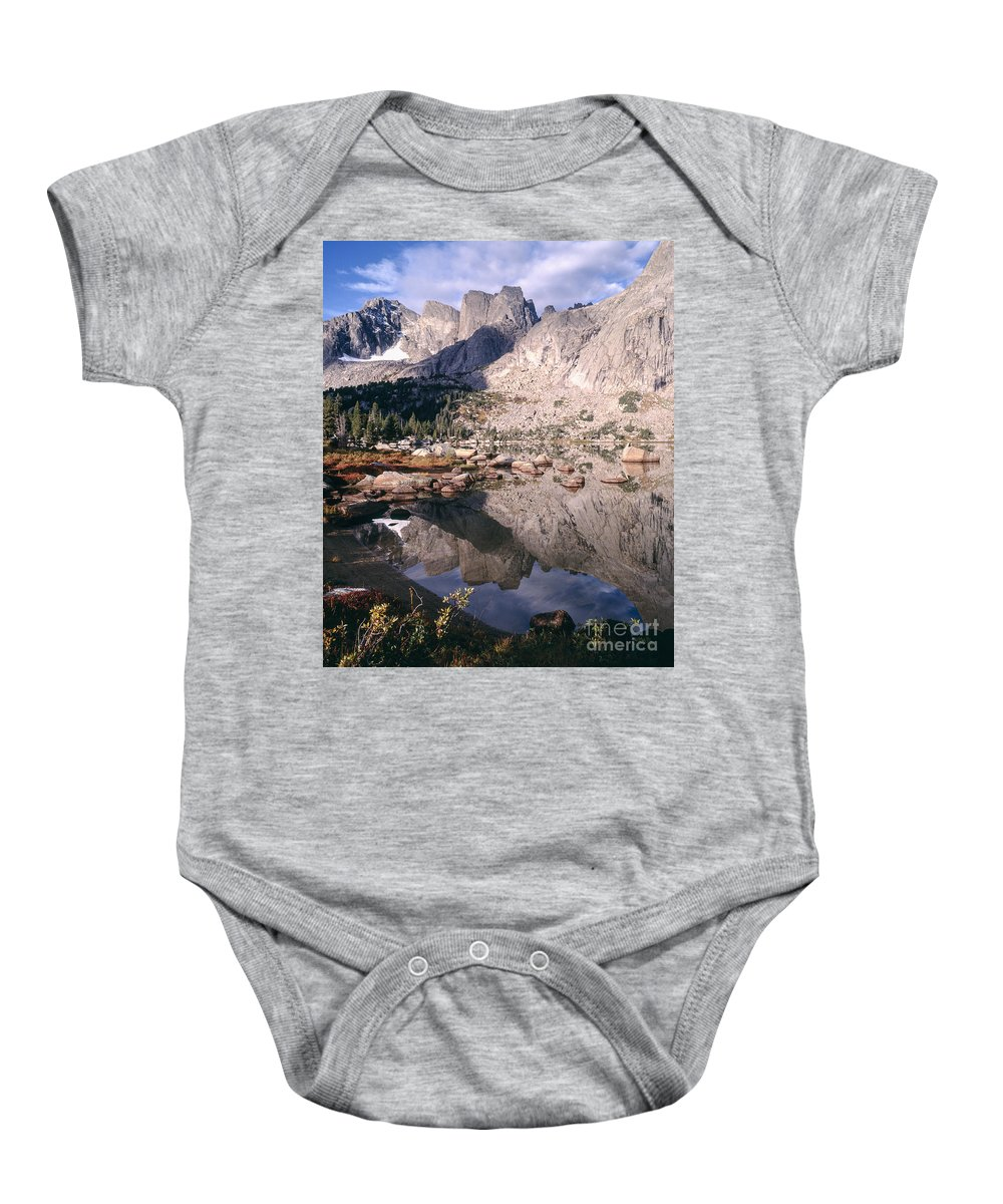 Continental Divide Baby Onesie featuring the photograph Cirque Of The Towers In Lonesome Lake  by Tracy Knauer