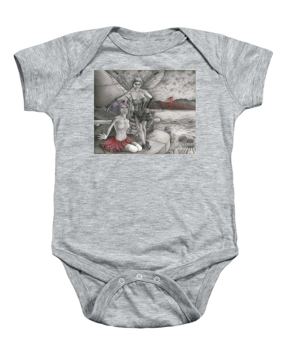 Drawing Baby Onesie featuring the drawing Fairys Lesson by Michael Stanford