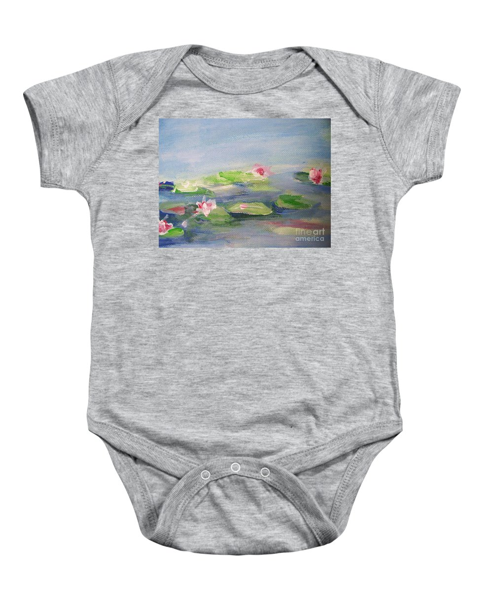Photograph Baby Onesie featuring the painting Impressionistic Lilies Monet by Eric Schiabor
