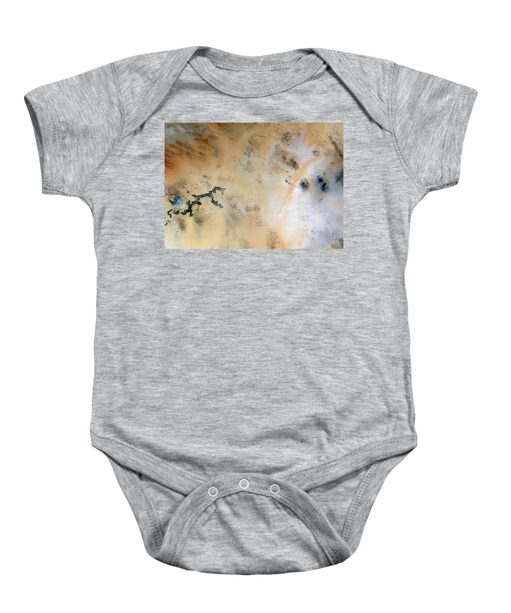 Satellite Image; Map; Environment; Desert; Sand; Agriculture; Irrigation; Oasis; Africa; Libya Baby Onesie featuring the photograph Koufra Oasis Libya by Anonymous
