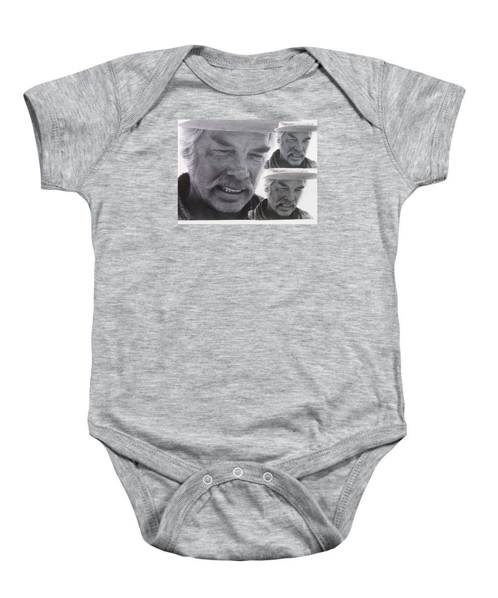 Lee Marvin Monte Walsh Variation #3 Collage Old Tucson Arizona John Wayne Jack Schaefer Shane George Stevens Baby Onesie featuring the photograph Lee Marvin Monte Walsh Variation #3 Collage Old Tucson Arizona 1969-2012 by David Lee Guss