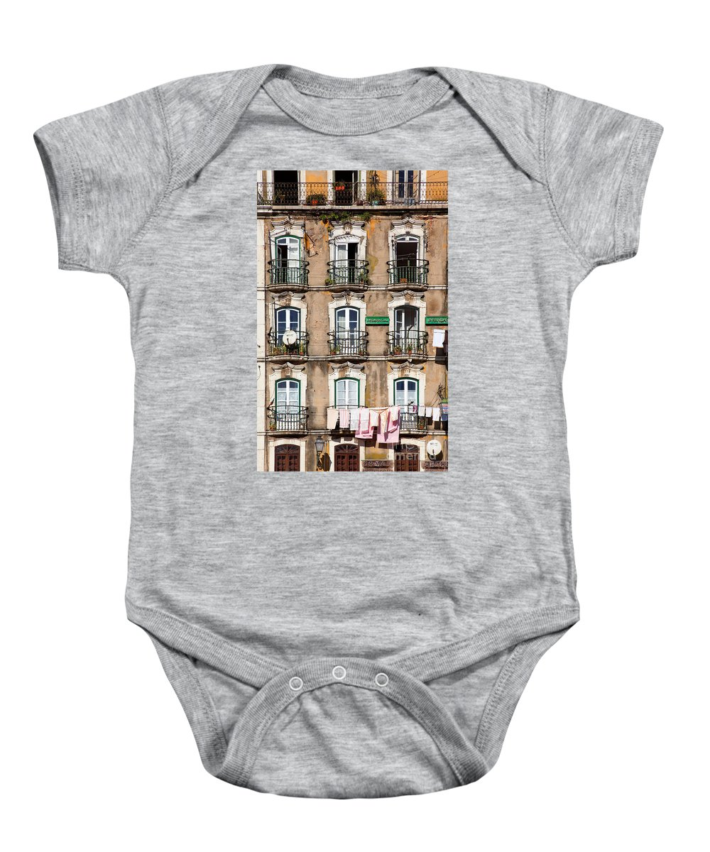 Windows Baby Onesie featuring the photograph Lisbon - 18th Century Facade by Jose Elias - Sofia Pereira