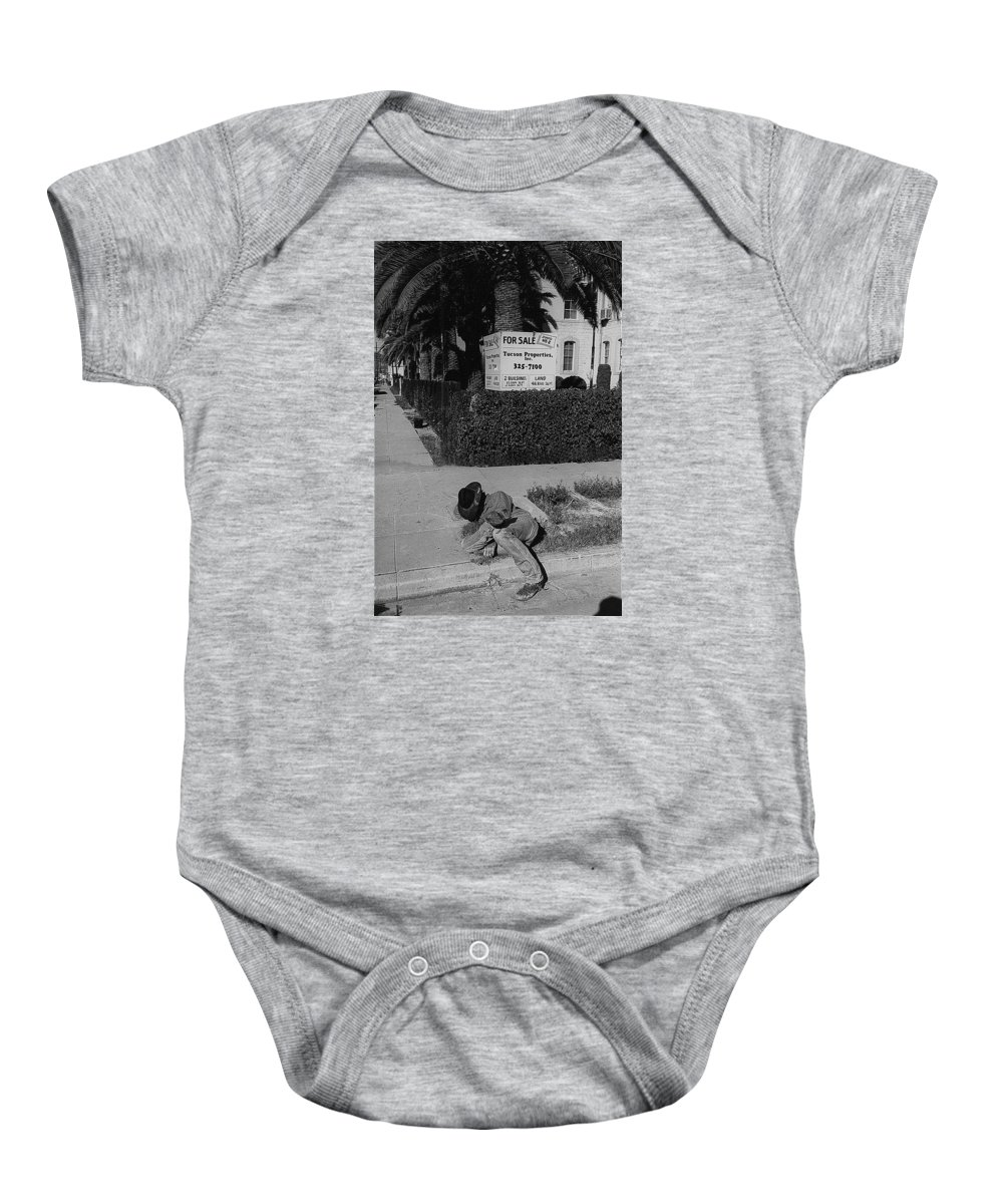 Man From Monterey Homage 1933 Sleeping Cowboy Tucson Arizona John Ford Francis Ford Airmail The Quiet Man Black And White Baby Onesie featuring the photograph Man From Monterey Homage 1933 Sleeping Cowboy Tucson Arizona 1984 by David Lee Guss