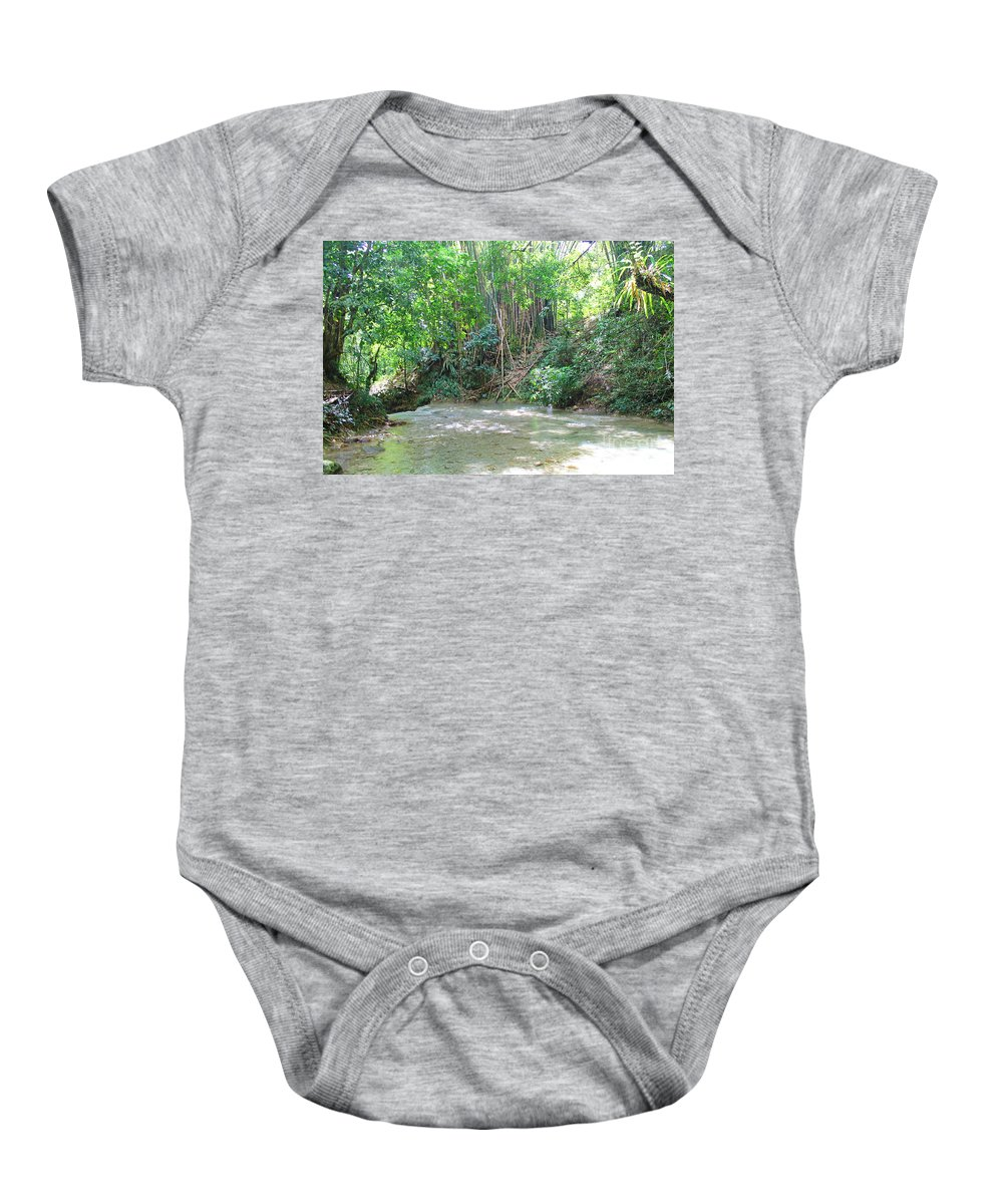 Mayfield Falls Baby Onesie featuring the photograph Mayfield Falls Jamaica 11 by Debbie Levene