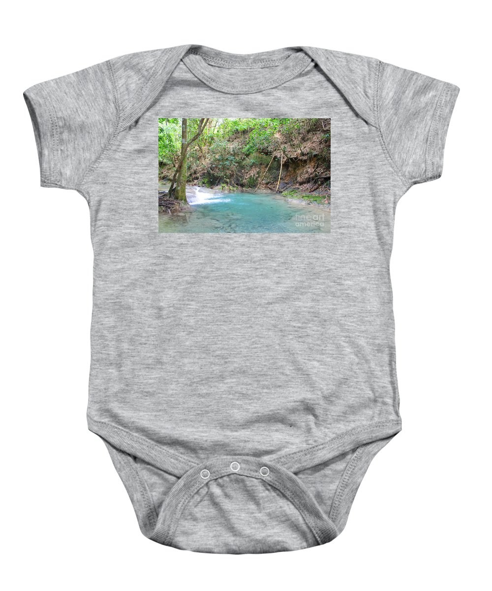 Mayfield Falls Baby Onesie featuring the photograph Mayfield Falls Jamaica 4 by Debbie Levene