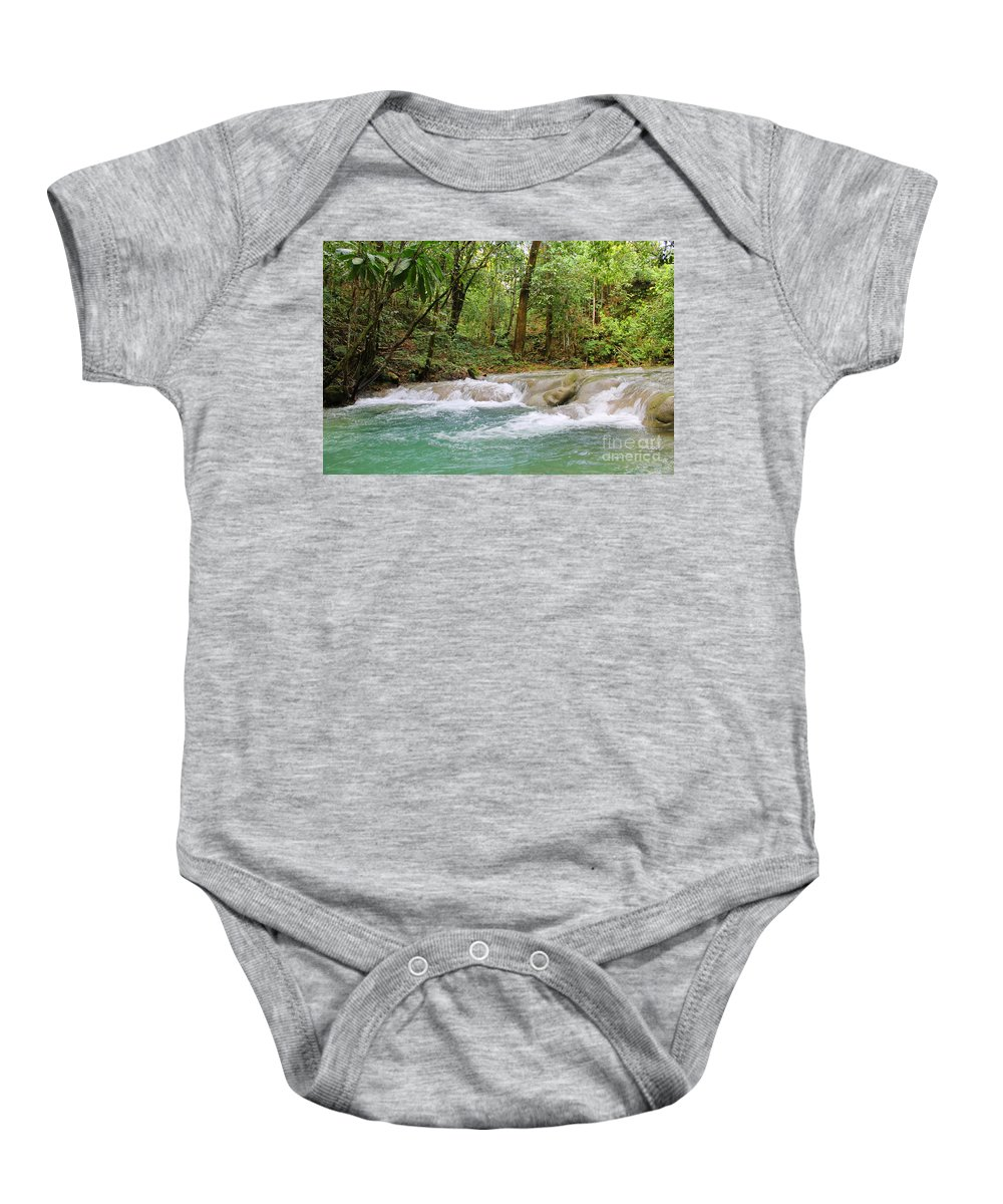 Mayfield Falls Baby Onesie featuring the photograph Mayfield Falls Jamaica 7 by Debbie Levene