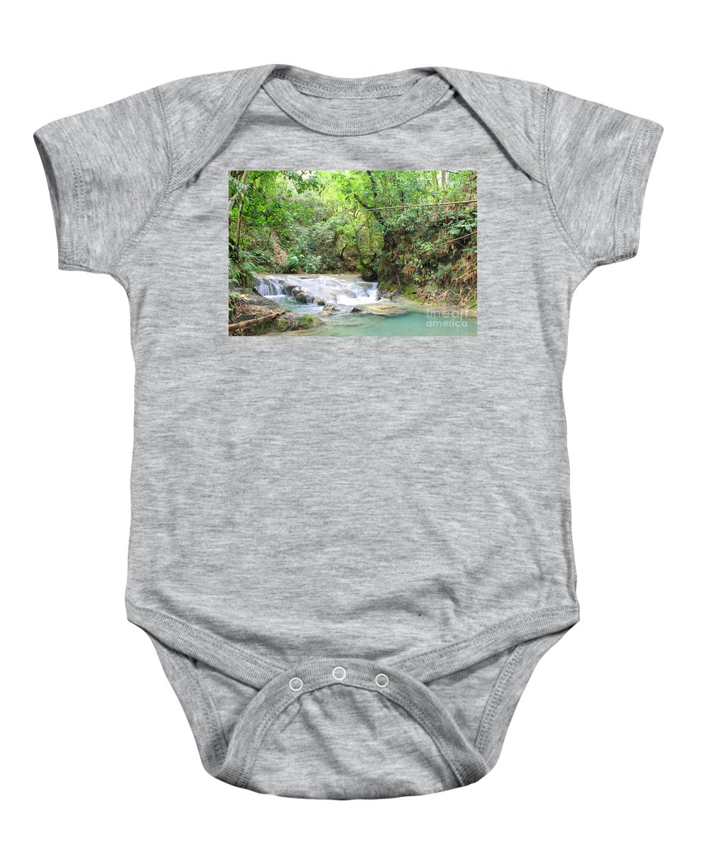 Mayfield Falls Baby Onesie featuring the photograph Mayfield Falls Jamaica 8 by Debbie Levene