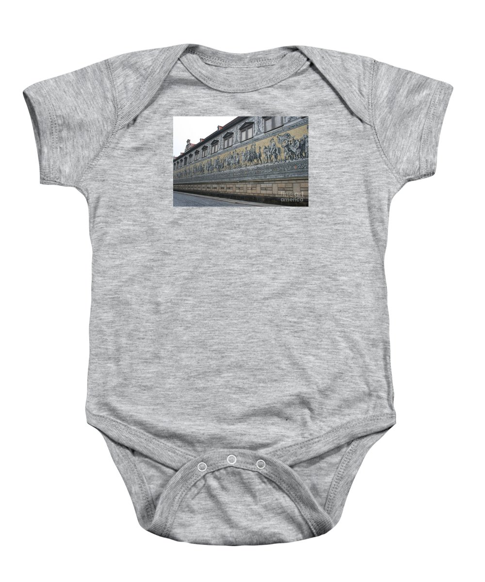 Fuerstenzug Baby Onesie featuring the photograph Saxon Sovereigns Depicted In Meissen Porcelain by Christiane Schulze Art And Photography