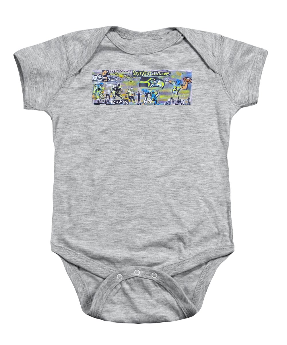 Jimi Hendrix Baby Onesie featuring the painting Seattle Seahawks Superbowl by Tony B Conscious