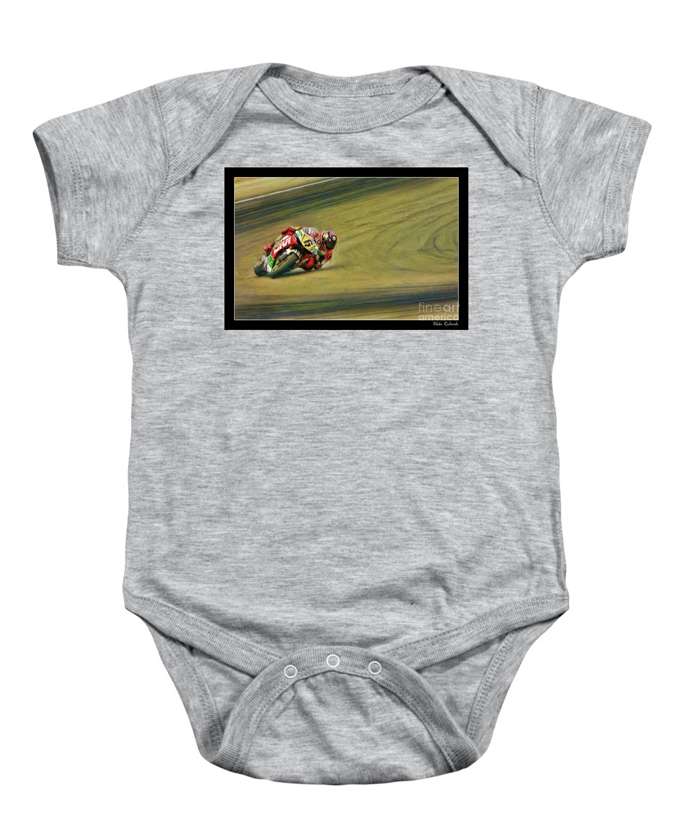 Stefan Bradl Baby Onesie featuring the photograph Stefan Bradl Uses His Elbow by Blake Richards