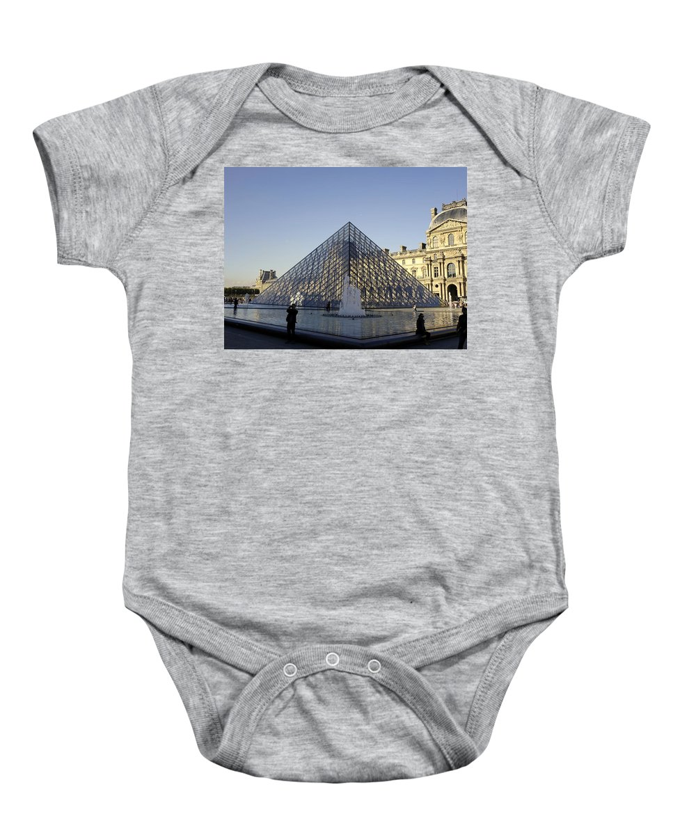 Paris Baby Onesie featuring the photograph The Glass Pyramid Of The Musee Du Louvre In Paris France by Richard Rosenshein