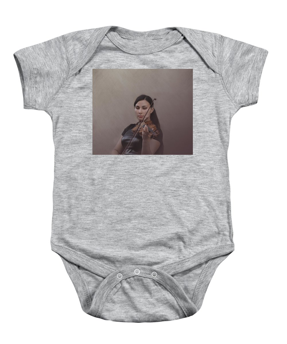 Violin Baby Onesie featuring the photograph Violinist by Guna Andersone