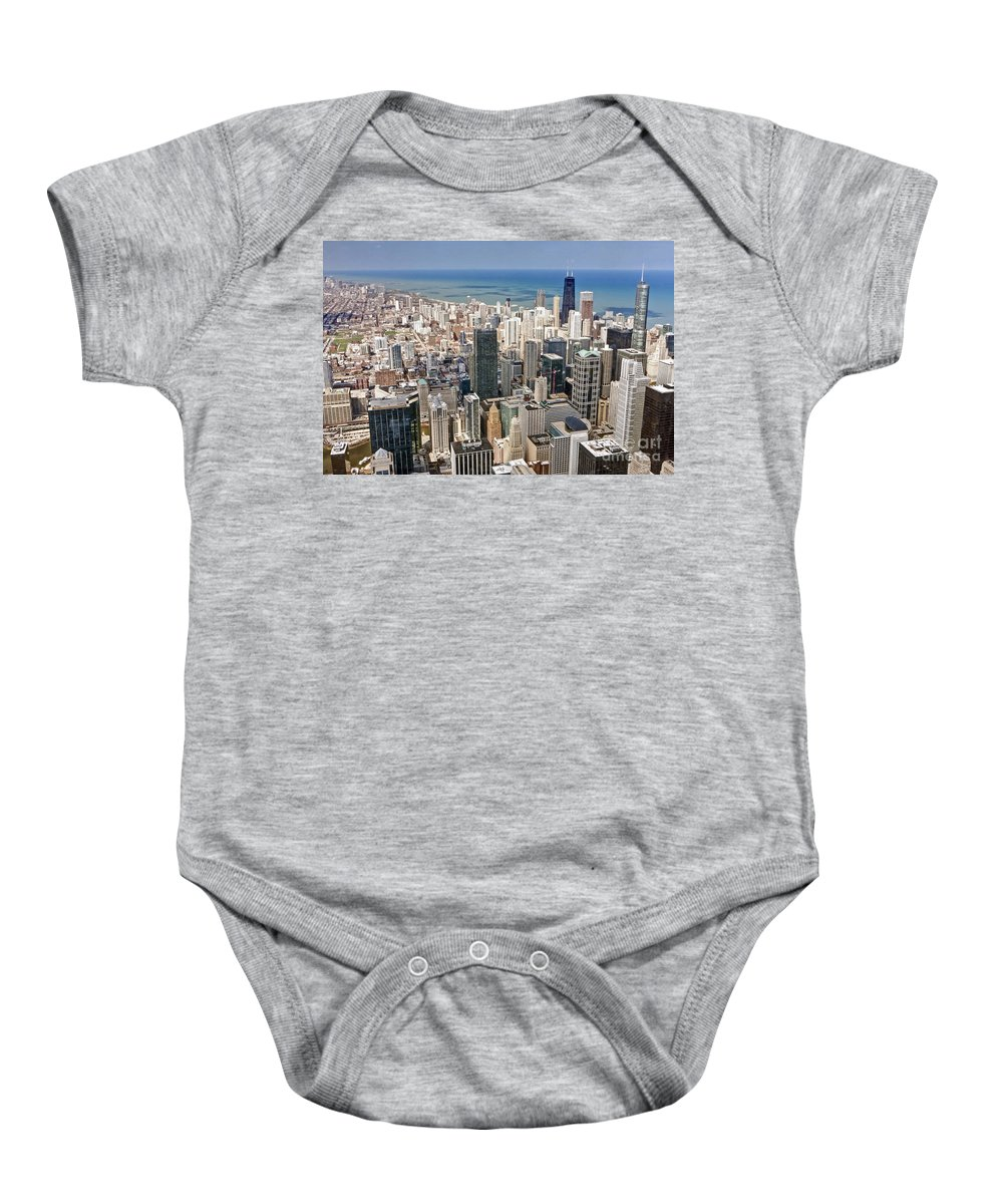Chicago Baby Onesie featuring the photograph 0001 Chicago Skyline by Steve Sturgill