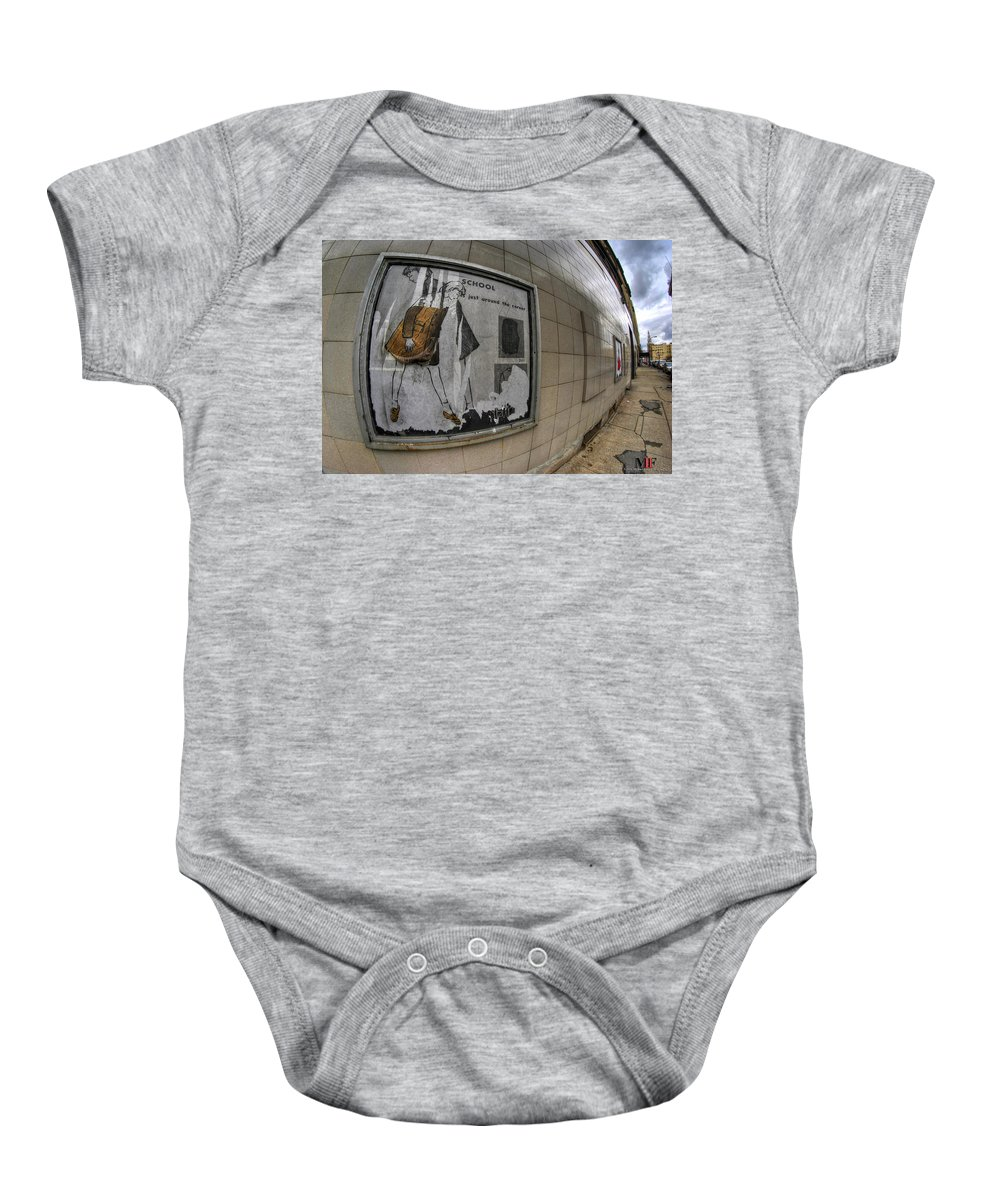 Michael Frank Jr Baby Onesie featuring the photograph 0035 Throwback Shopping Center Of Am And As by Michael Frank Jr