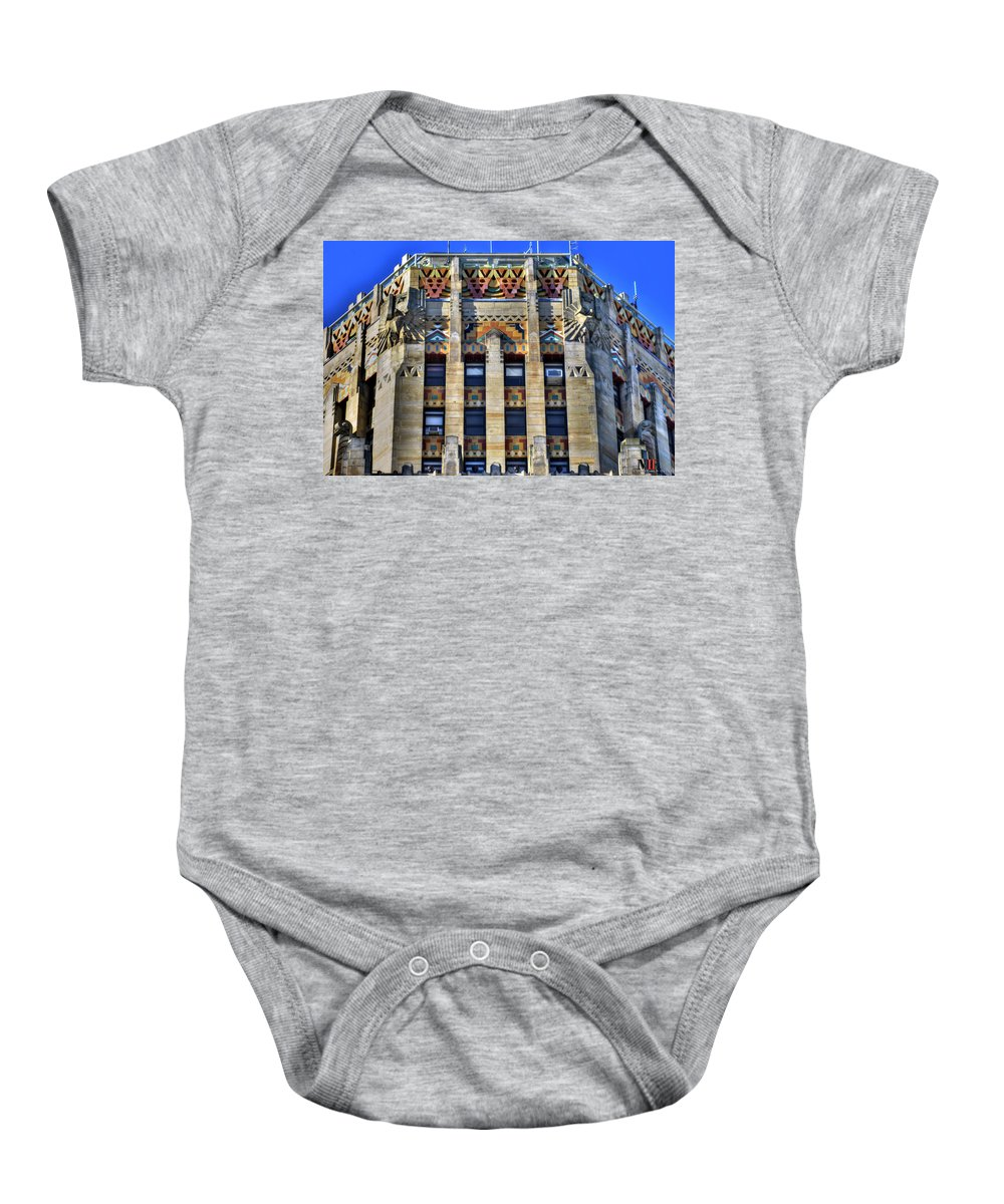 Michael Frank Jr Baby Onesie featuring the photograph 0049 Art Deco City Hall by Michael Frank Jr