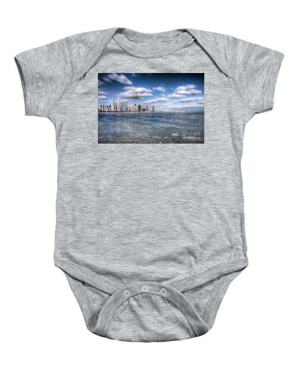 Architecture Baby Onesie featuring the photograph 0447 Chicago Skyline by Steve Sturgill