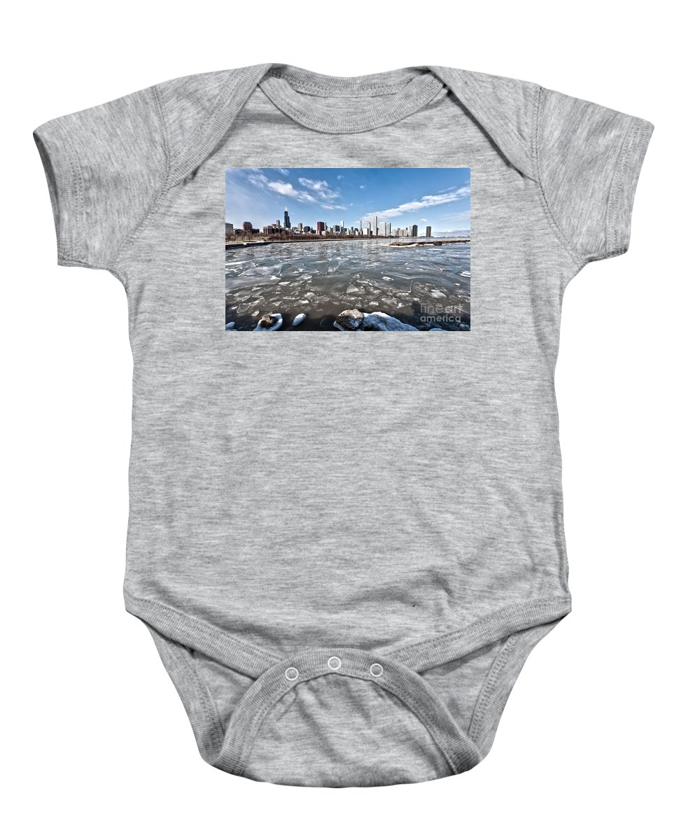 Architecture Baby Onesie featuring the photograph 0486 Chicago Skyline by Steve Sturgill