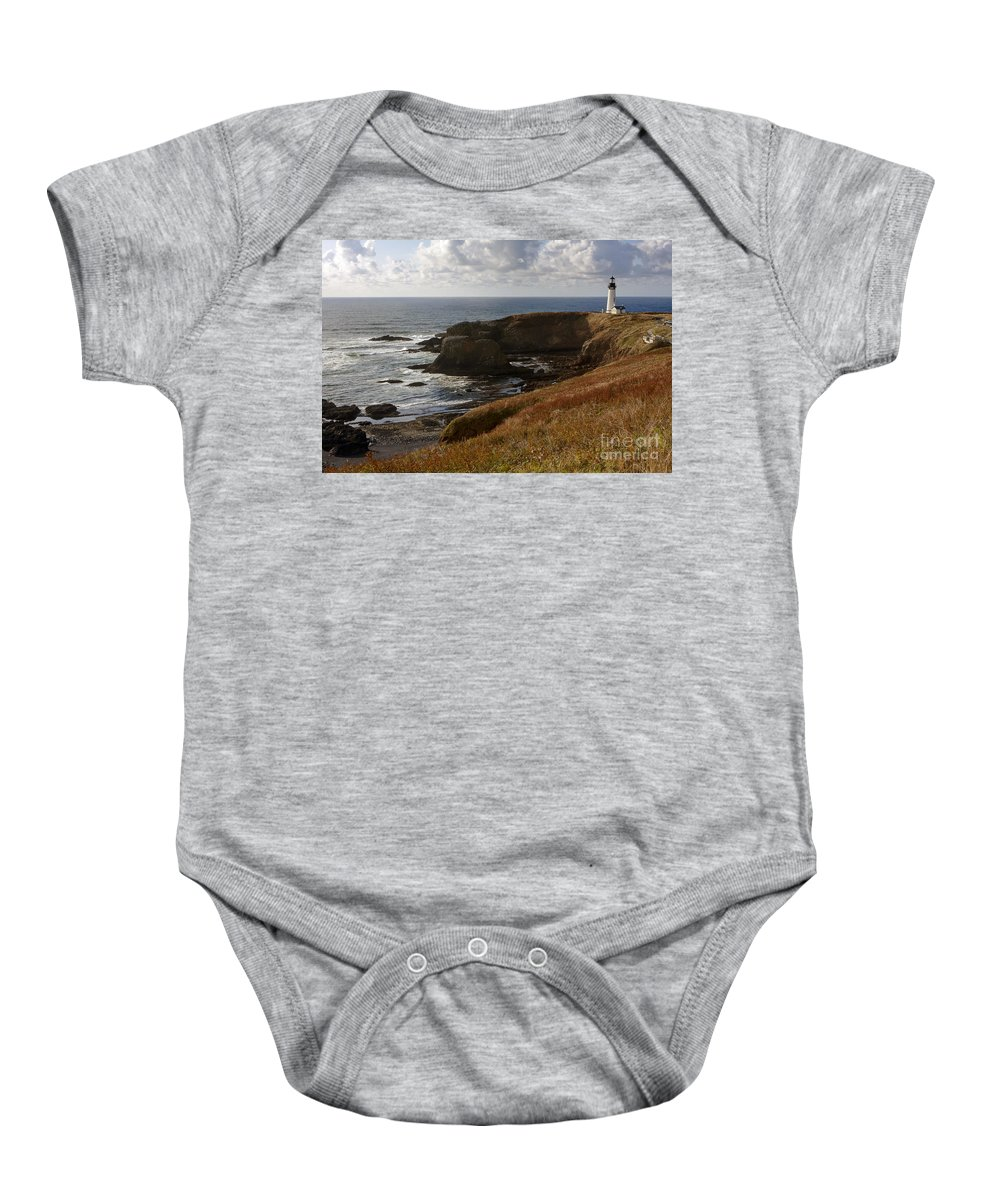Yaquina Baby Onesie featuring the photograph 0513 Yaquina Lighthouse by Steve Sturgill