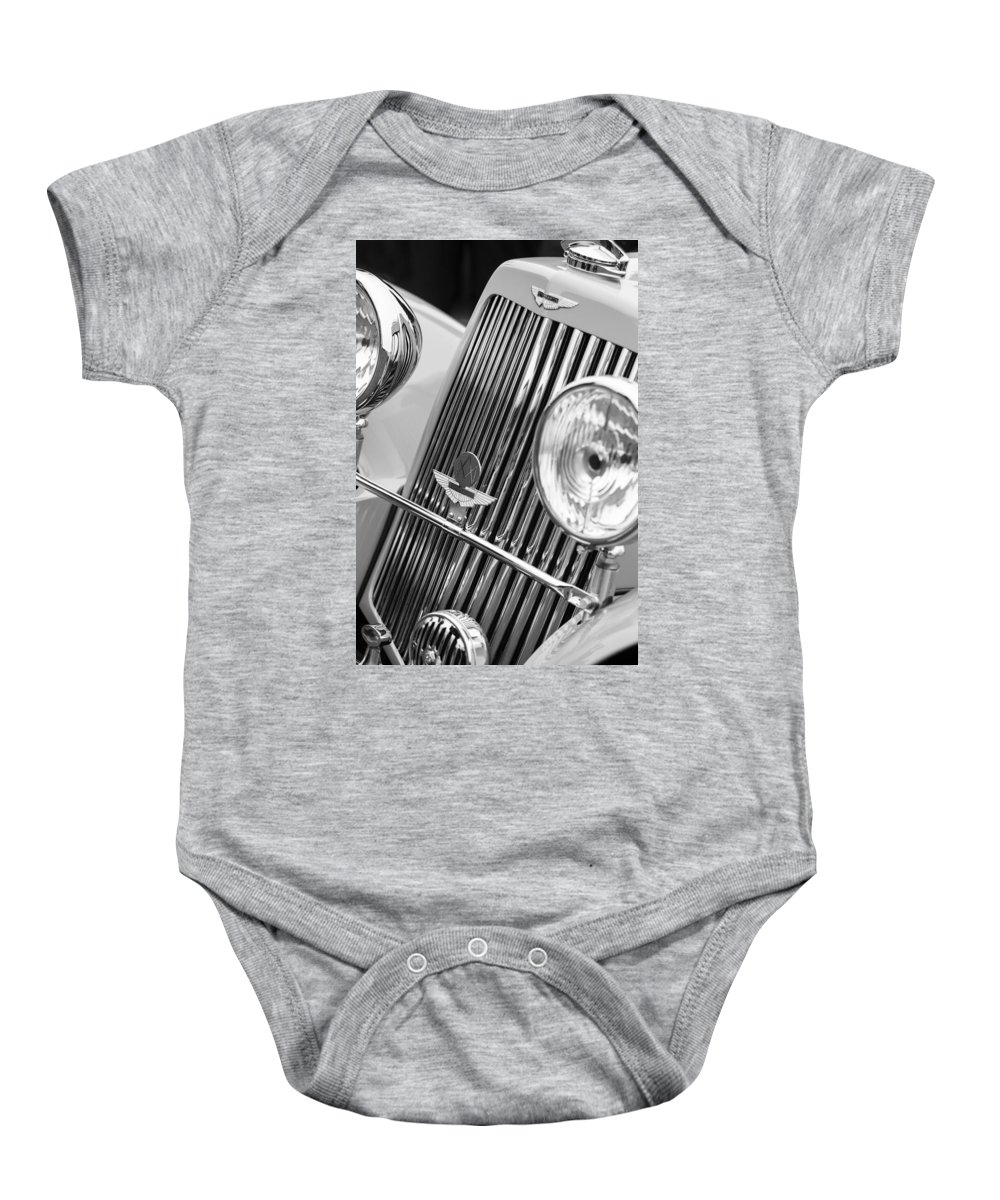 1939 Aston Martin 15/98 Abbey Coachworks Swb Sports Grille Emblems Baby Onesie featuring the photograph 1939 Aston Martin 15-98 Abbey Coachworks Swb Sports Grille Emblems by Jill Reger