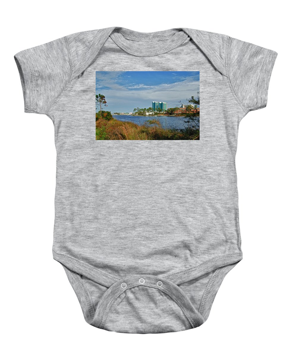 Alabama Photographer Baby Onesie featuring the digital art 5 Oclock On Cotton Bayou by Michael Thomas