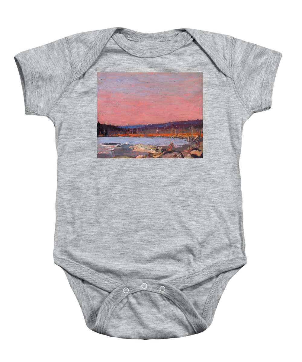 Painting Baby Onesie featuring the painting A Northern Lake by Mountain Dreams