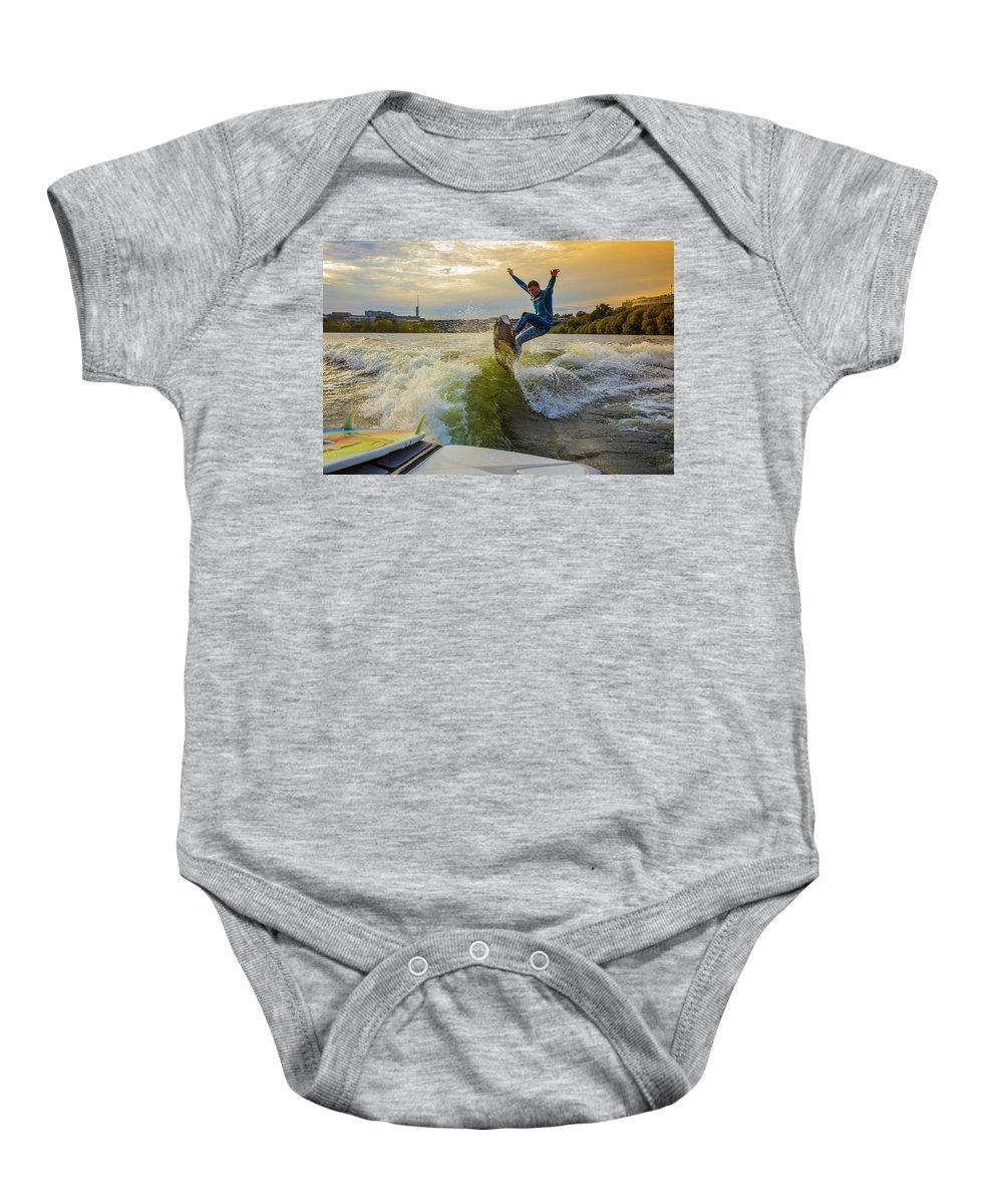 Water Sport Baby Onesie featuring the photograph Autumn Wake Surfing by Konstantin Trubavin