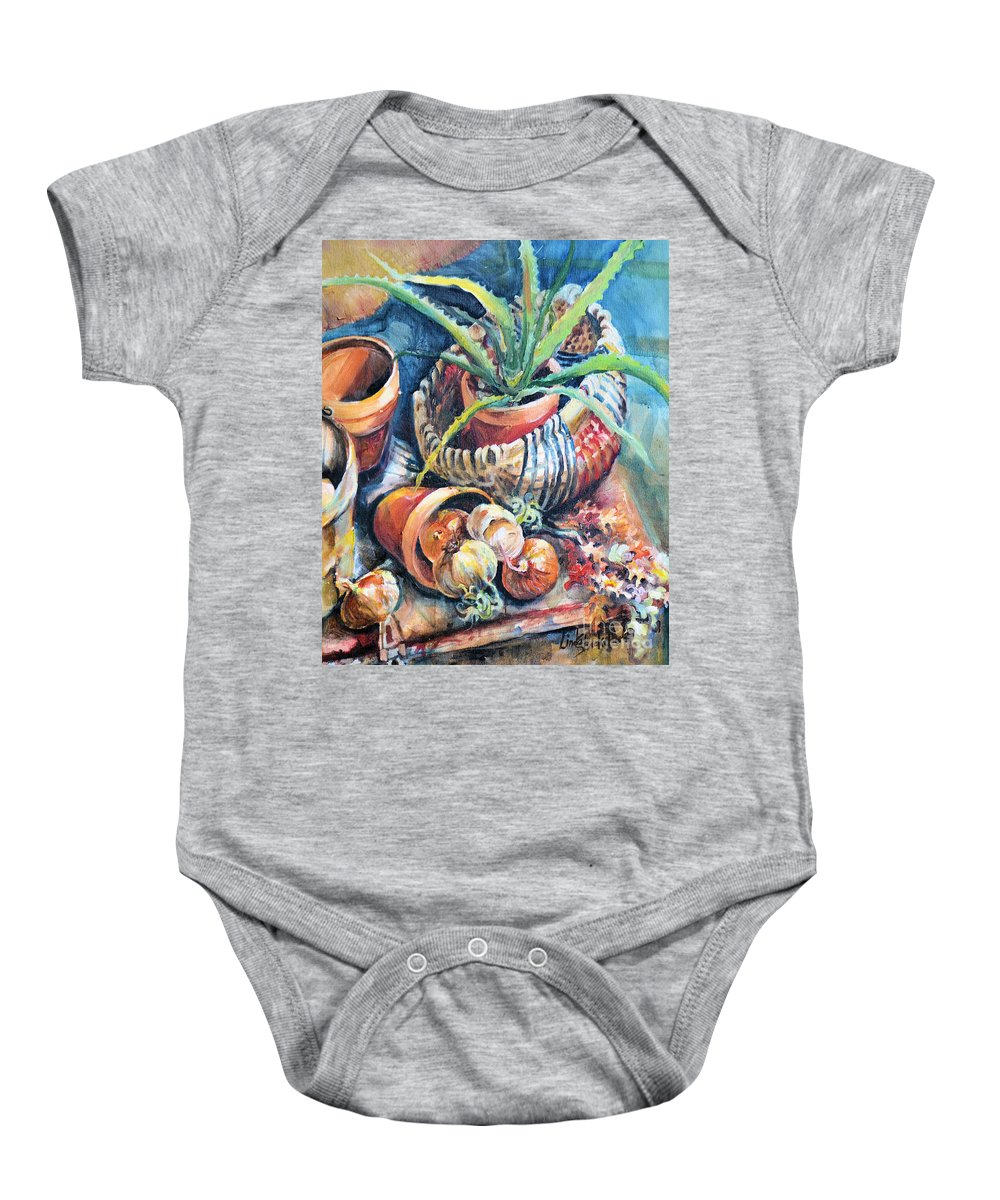 Cactus Baby Onesie featuring the painting Baskets by Linda Shackelford