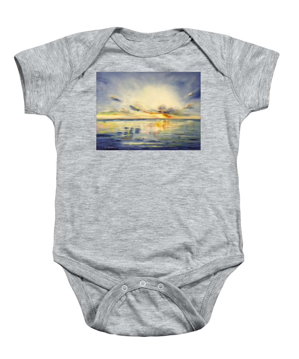 Blue Baby Onesie featuring the painting Blue Sunset by Gina De Gorna