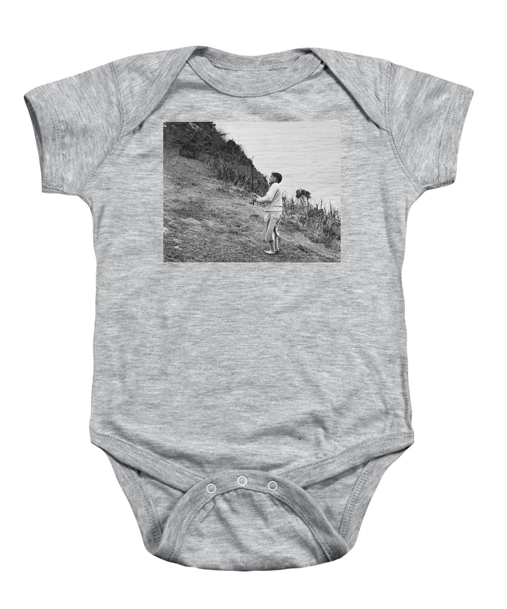 1929 Baby Onesie featuring the photograph Bobby Jones At Pebble Beach by Julian P. Graham