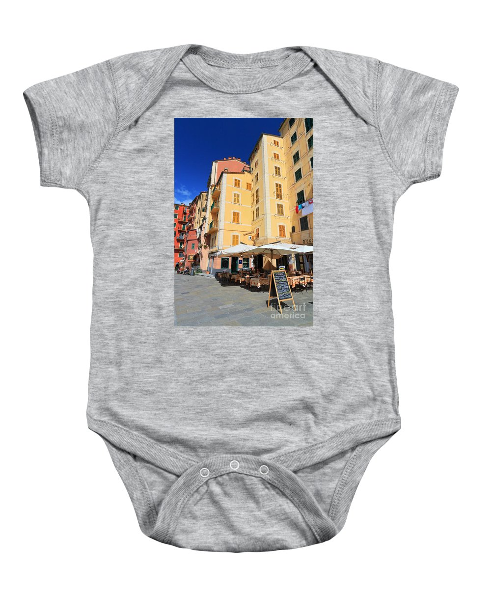 Ancient Baby Onesie featuring the photograph 	Camogli - Homes And Promenade by Antonio Scarpi