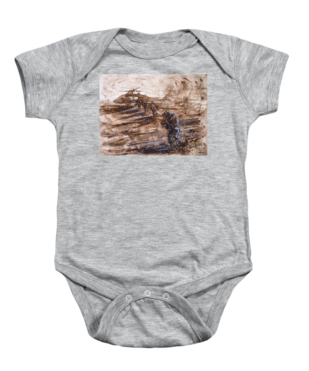 Soldiers Baby Onesie featuring the painting Charlie Mike by Zaira Dzhaubaeva