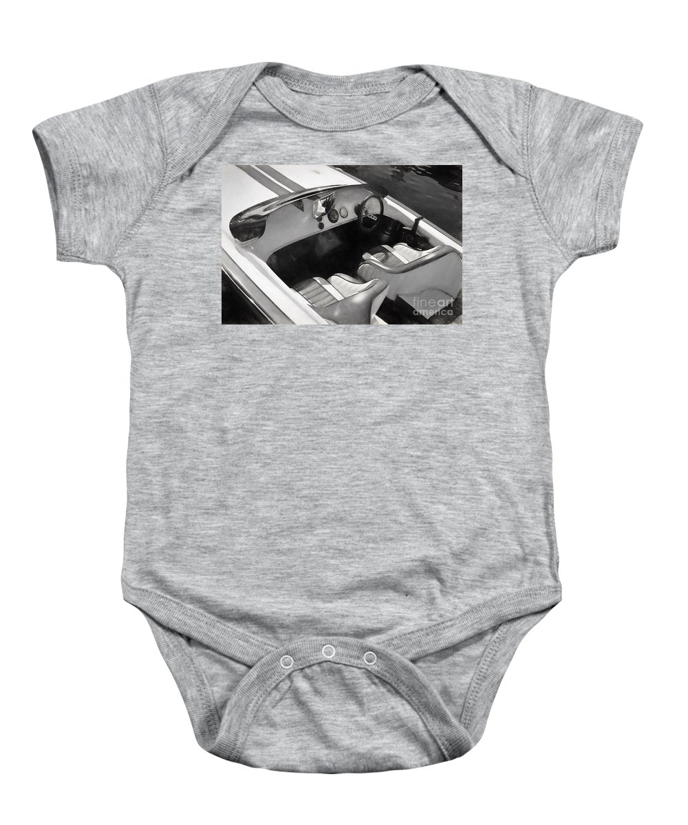 Interior Baby Onesie featuring the photograph Classic Boat In Black And White by Les Palenik