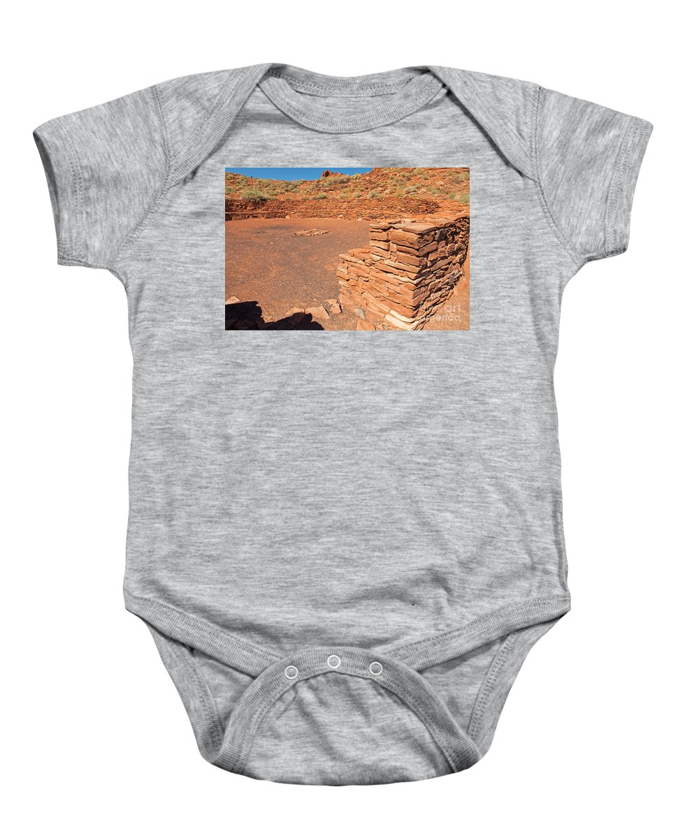 Arizona Baby Onesie featuring the photograph Community Room At Wupatki Pueblo In Wupatki National Monument by Fred Stearns