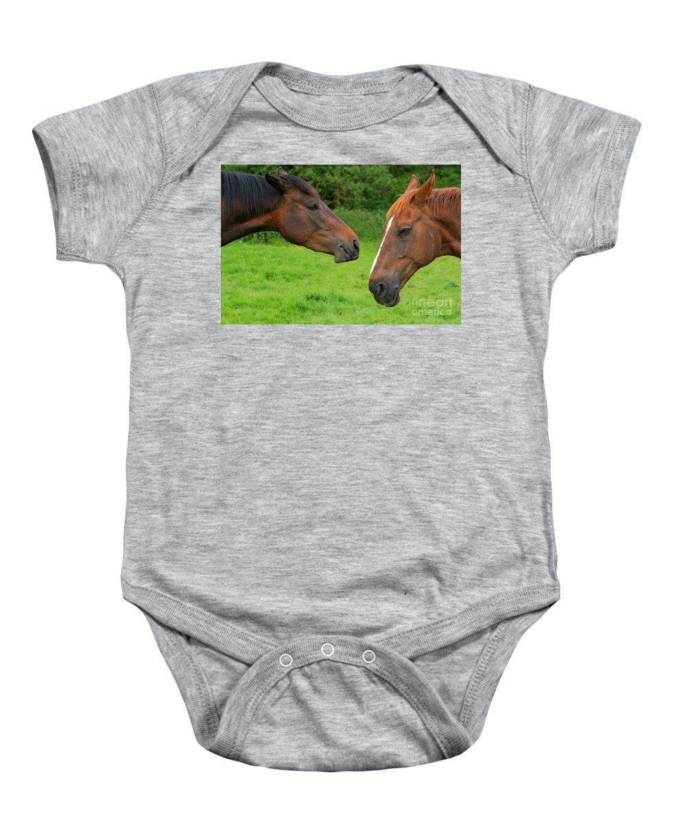 Horse Baby Onesie featuring the photograph Conversations by Angel Ciesniarska