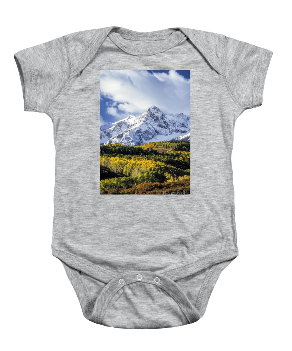 Sneffels Mountain Range Baby Onesie featuring the photograph Fall Foliage by Bob Phillips