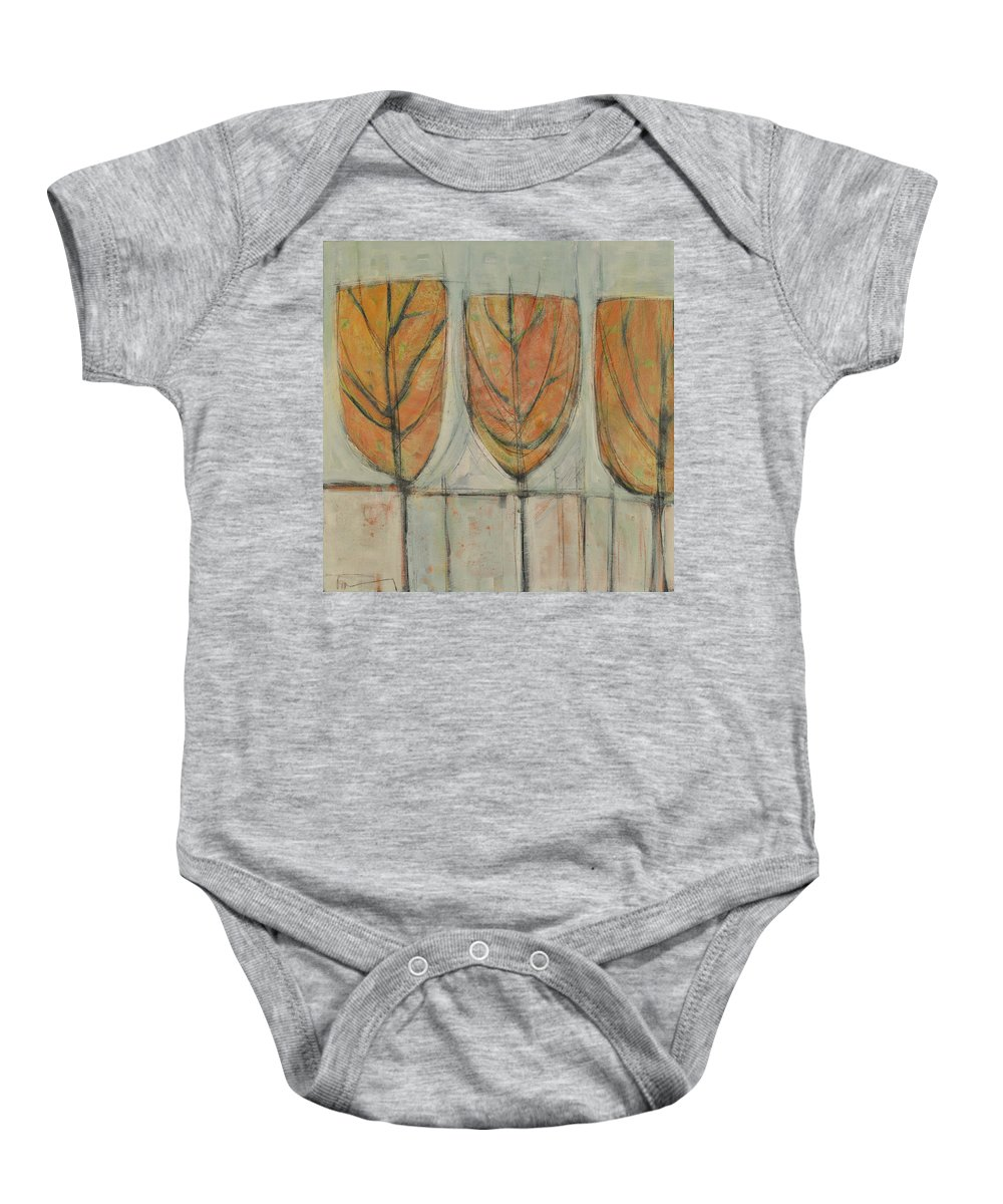 Trees Baby Onesie featuring the painting First Snow by Tim Nyberg