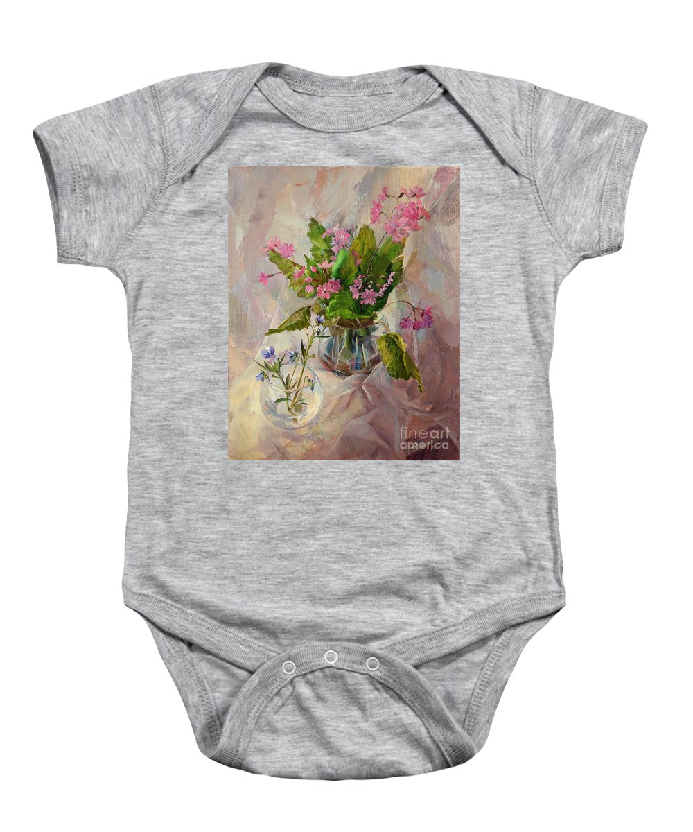 Flowers Baby Onesie featuring the painting Flowers by Galina Gladkaya