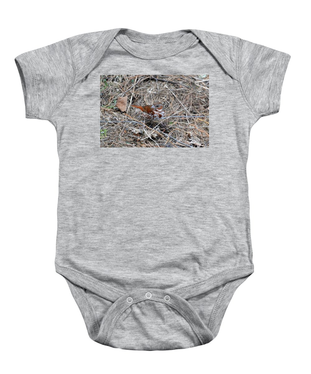 Fox Sparrow Baby Onesie featuring the photograph Fox Sparrow by Thomas Phillips