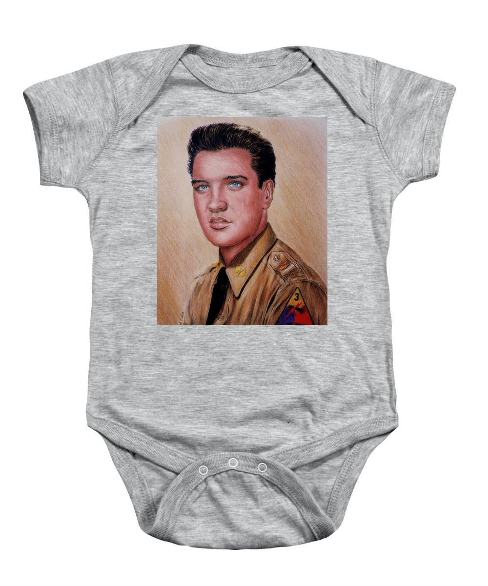 Elvis Presley Baby Onesie featuring the drawing G I Elvis by Andrew Read