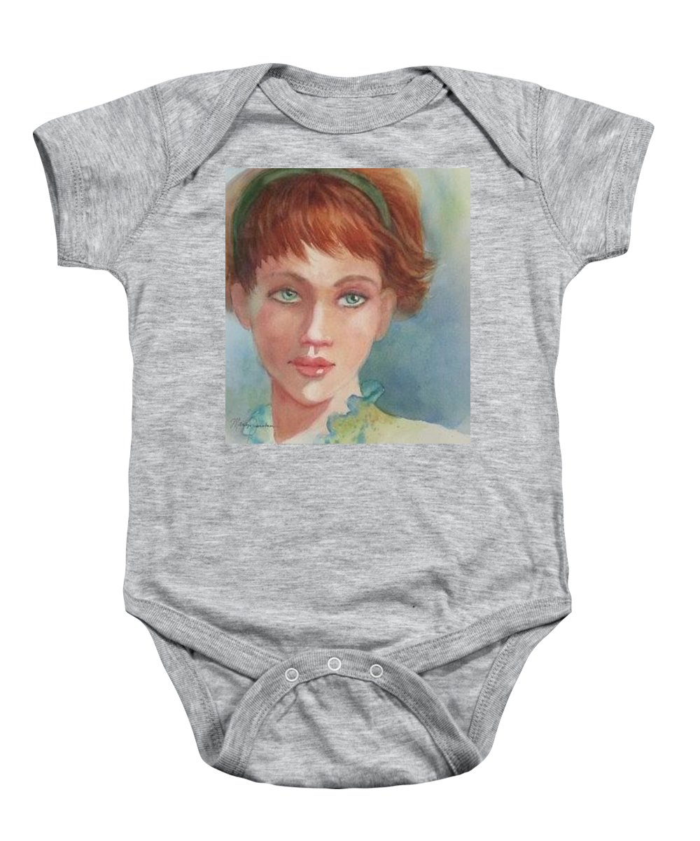 Redhead Baby Onesie featuring the painting Green Eyes by Marilyn Jacobson