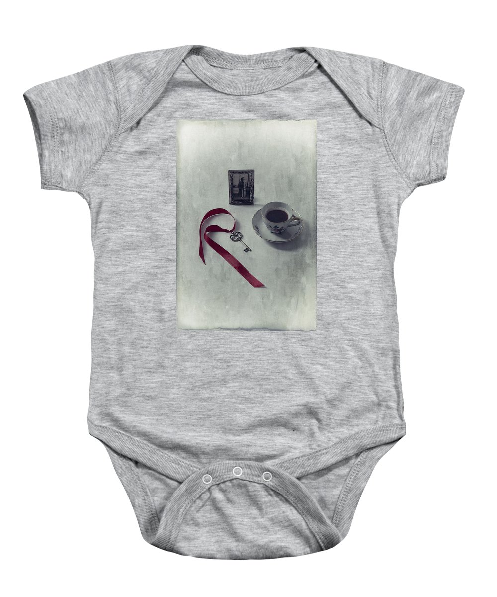 Coffee Baby Onesie featuring the photograph Key To My Memories by Joana Kruse