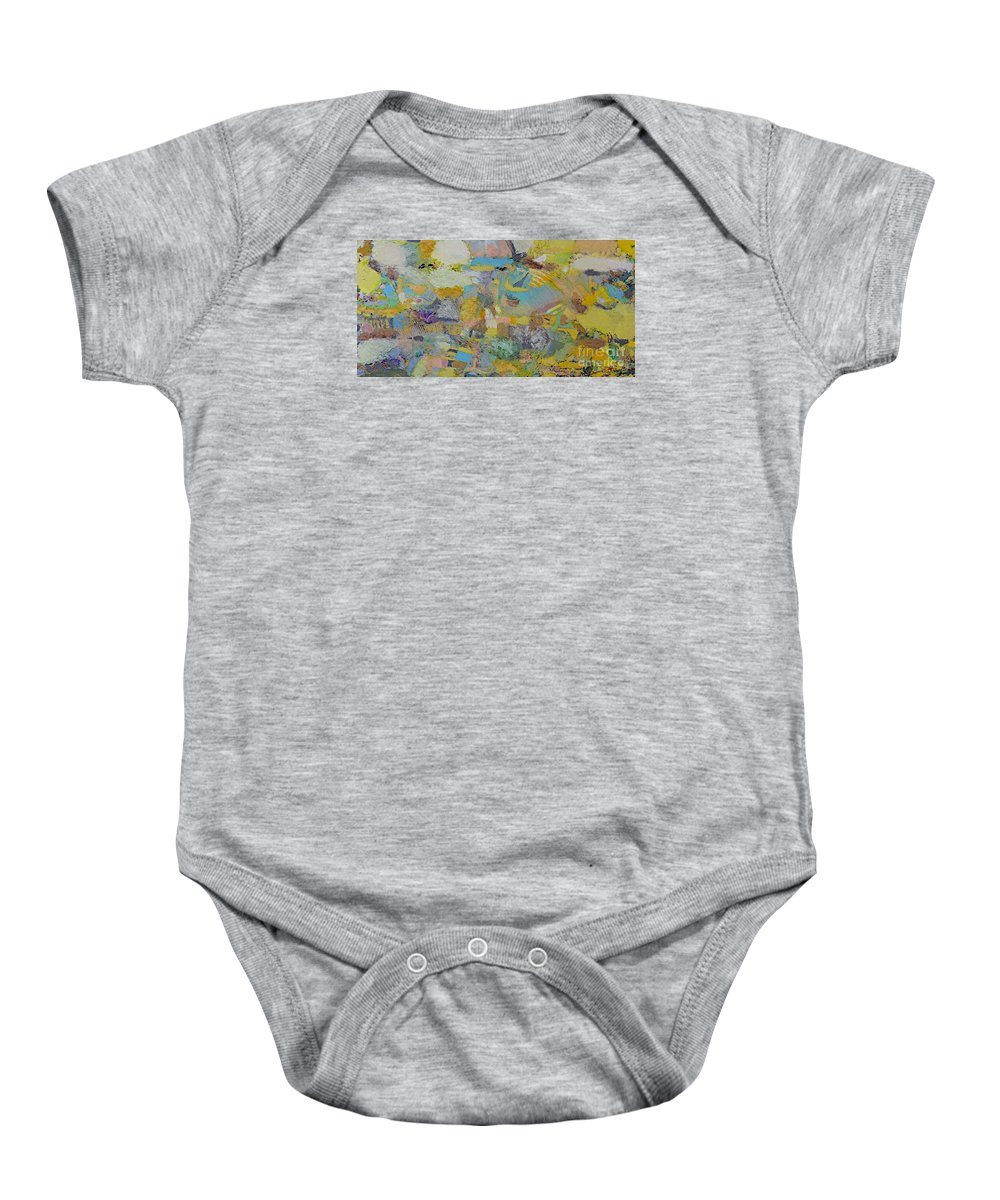 Olandscape Baby Onesie featuring the painting Lights Camera Action by Allan P Friedlander