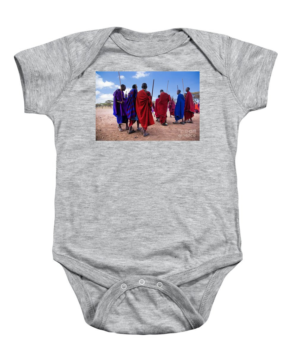 Village Baby Onesie featuring the photograph Maasai Men In Their Ritual Dance In Their Village In Tanzania by Michal Bednarek