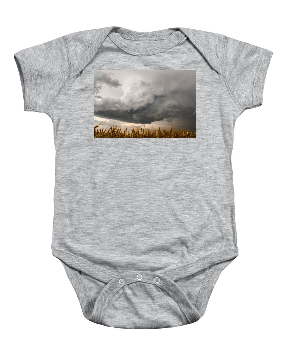 Storms Baby Onesie featuring the photograph Marshmallow - Bubbling Storm Cloud Over Wheat In Kansas by Sean Ramsey