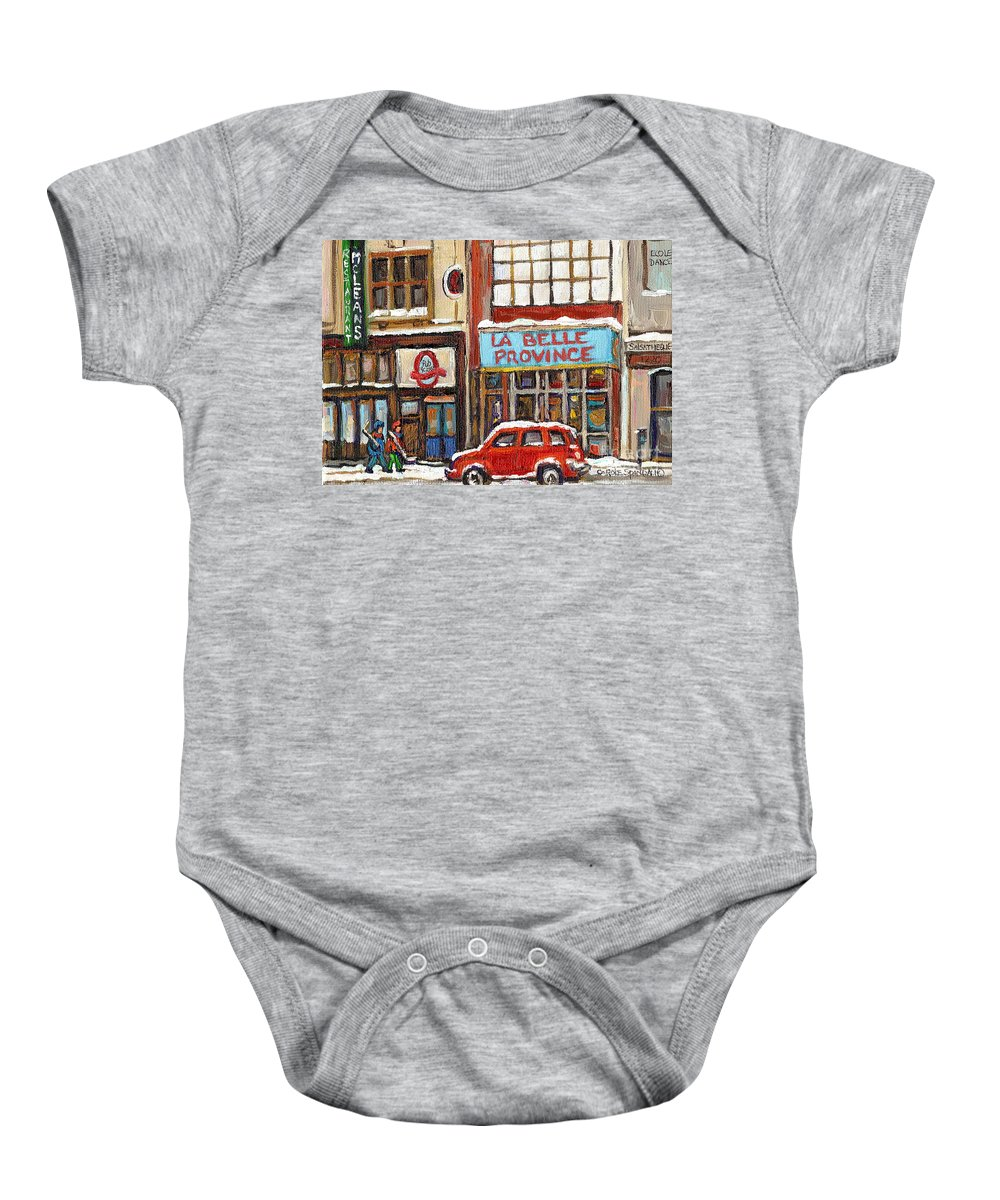 Montreal Baby Onesie featuring the painting Mcleans Irish Pub Montreal by Carole Spandau