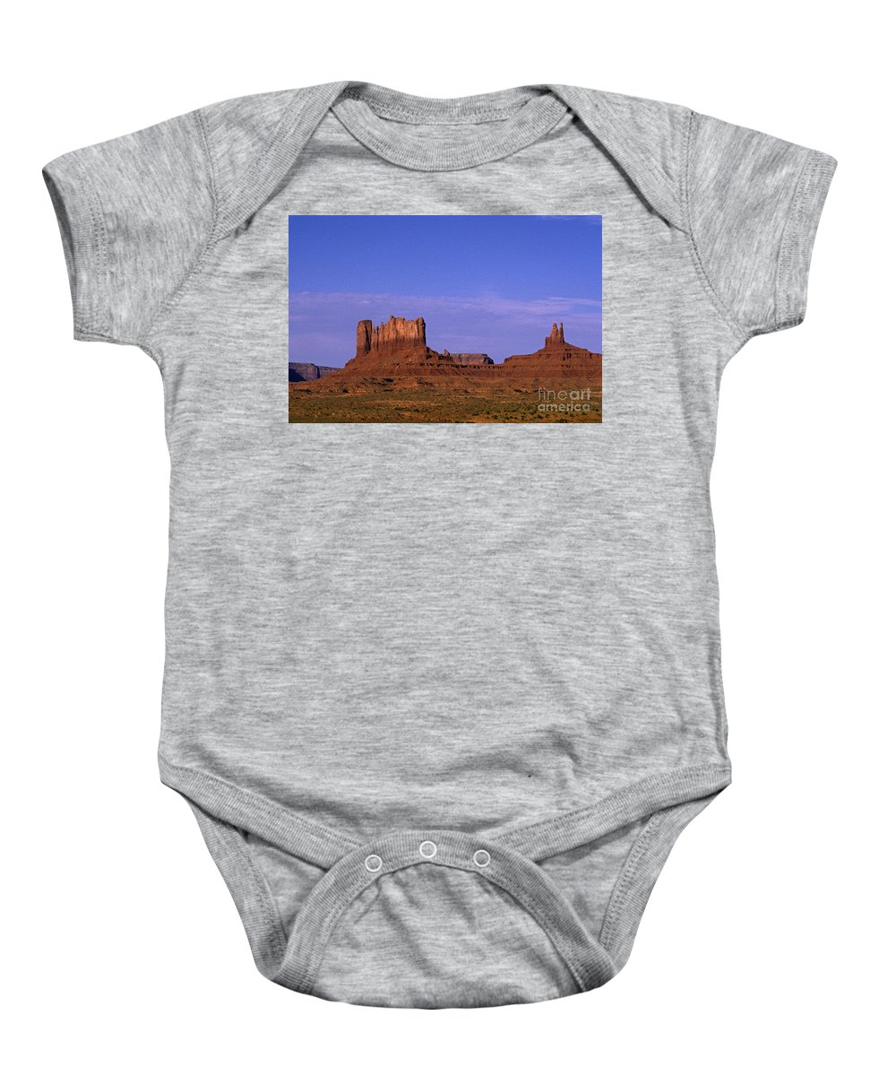 Adventure Baby Onesie featuring the photograph Monument Valley Arizona State Usa by Jim Corwin